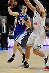 Real Madrid´s Gustavo Ayon and Anadolu Efes´s Thomas Heurtel during 2014-15 Euroleague Basketball Playoffs second match between Real Madrid and Anadolu Efes at Palacio de los Deportes stadium in Madrid, Spain. April 17, 2015. (ALTERPHOTOS/Luis Fernandez)