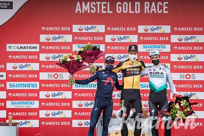 Wout van Aert (BEL/Jumbo-Visma) wins the 55th Amstel Gold Race 2021 (1.UWT) ahead of Tom Pidcock (GBR/Ineos Grenadiers) & Maximilian Schachmann (DEU/BORA - hansgrohe)<br /> <br /> 1 day race from Valkenburg to Berg en Terblijt; raced on closed circuit (NED/217km)<br /> <br /> ©kramon
