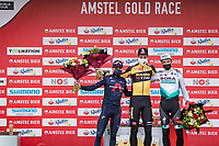 Wout van Aert (BEL/Jumbo-Visma) wins the 55th Amstel Gold Race 2021 (1.UWT) ahead of Tom Pidcock (GBR/Ineos Grenadiers) & Maximilian Schachmann (DEU/BORA - hansgrohe)<br /> <br /> 1 day race from Valkenburg to Berg en Terblijt; raced on closed circuit (NED/217km)<br /> <br /> ©kramon