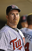 28 September 2012: Minnesota Twins catcher Ryan Doumit awaits the start of play in the dugout prior to a game against the Detroit Tigers at Target Field in Minneapolis, MN. The Twins defeated the Tigers 4-2 in the first game of their 3-game series. Mandatory Credit: Ed Wolfstein Photo