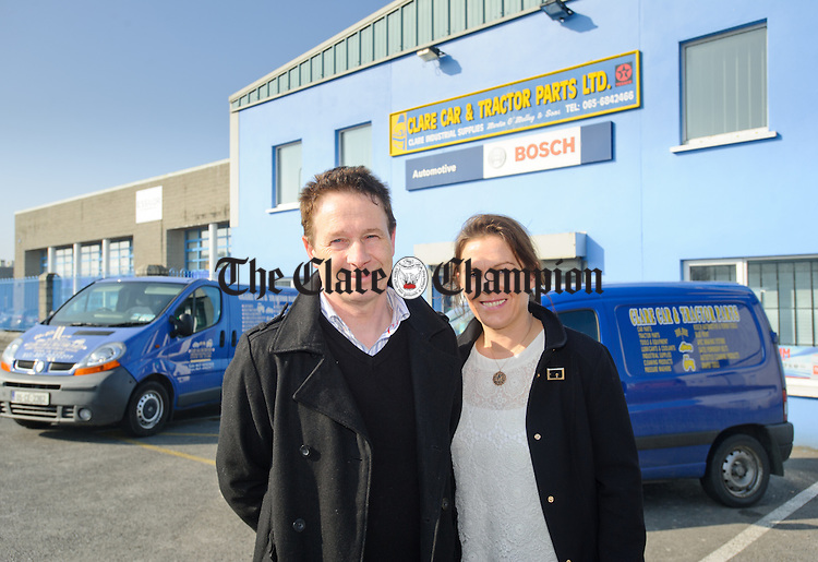 Agnes and Martin O Malley of Clare Car And Tractor Parts in the Gort road Industrial estate in Ennis. Photograph by John Kelly.