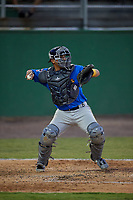 Myrtle Beach Pelicans catcher Miguel Amaya (9) throws down to second base during a Carolina League game against the Potomac Nationals on August 14, 2019 at Northwest Federal Field at Pfitzner Stadium in Woodbridge, Virginia.  Potomac defeated Myrtle Beach 7-0.  (Mike Janes/Four Seam Images)