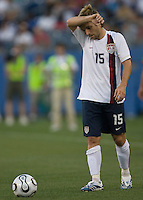 Bobby Convey of the USA showing the strain against Morocco at the Coliseum, Nashville, Tennessee, May 23, 2006. The USA lost 1-0.(Photo by Brooks Parkenridge)
