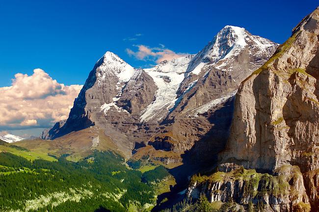 The Eiger (left) & Jungfrau (Right) from Murren - Alps Switzerland