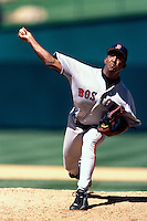 Pedro Martinez of the Boston Red Sox plays in a baseball game at Edison International Field during the 1998 season in Anaheim, California. (Larry Goren/Four Seam Images)