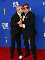 LOS ANGELES, USA. January 05, 2020: Bernie Taupin & Elton John in the press room at the 2020 Golden Globe Awards at the Beverly Hilton Hotel.<br /> Picture: Paul Smith/Featureflash
