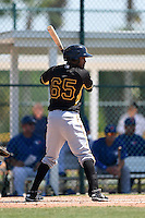 Pittsburgh Pirates Michael De La Cruz (65) during a minor league spring training game against the Toronto Blue Jays on March 21, 2015 at Pirate City in Bradenton, Florida.  (Mike Janes/Four Seam Images)