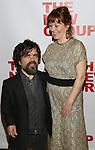 """Peter Dinklage and Erica Schmidt, pregnant, attend the Opening Night of The New Group World Premiere of """"All The Fine Boys"""" at the The Green Fig Urban Eatery on March 1, 2017 in New York City."""