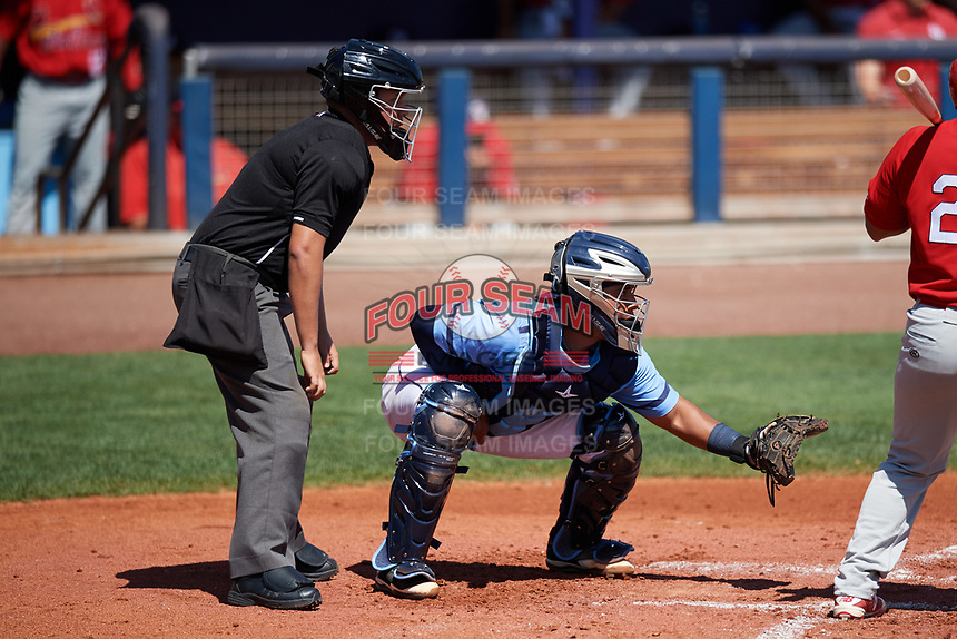 Umpire J.C. Velez and Charlotte Stone Crabs catcher David Rodriguez (10) await the pitch during a game against the Palm Beach Cardinals on April 12, 2017 at Charlotte Sports Park in Port Charlotte, Florida.  Palm Beach defeated Charlotte 8-7.  (Mike Janes/Four Seam Images)