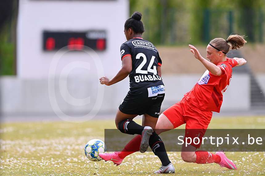 Clotilde Codden (23) of Woluwe and Esther Buabadi (24) of Zulte-Waregem  pictured during a female soccer game between FC Femina White Star Woluwe and SV Zulte Waregem on the fifth matchday of play off 2 in the 2020 - 2021 season of Belgian Scooore Womens Super League , Saturday 8 th of May 2021  in Woluwe , Belgium . PHOTO SPORTPIX.BE | SPP | DAVID CATRY