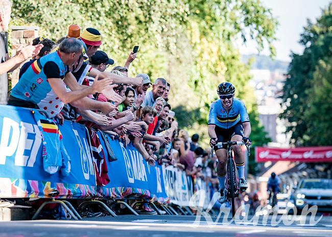 Jolien d'Hoore (BEL/SD Worx) working her way up the Wijnpersstraat<br /> <br /> Women Elite - Road Race (WC)<br /> from Antwerp to Leuven (158km)<br /> <br /> UCI Road World Championships - Flanders Belgium 2021<br /> <br /> ©kramon (pic by Sigfrid Eggers)