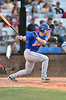 Kingsport Mets designated hitter Patrick Mazeika (19) swings at a pitch during a game against the  Johnson City Cardinals on June 25, 2015 in Johnson City, Tennessee. The Mets defeated the Cardinals 10-8 (Tony Farlow/Four Seam Images)