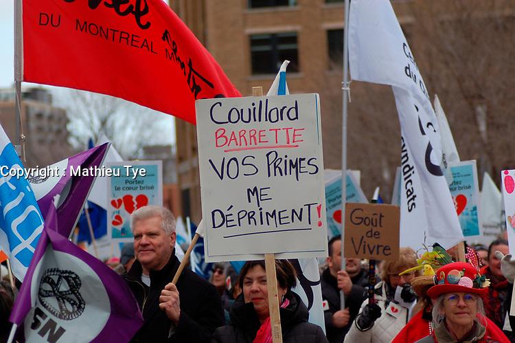 Grande manifestation Unies pour la sante, le 24mars 2018<br /> <br /> Citoyens, travailleuses et travailleurs, groupes communautaires et syndicats se rassemblent au Parc Emilie-Gamelin pour exiger un systeme de sante public fort et accessible.<br />    <br /> <br /> PHOTO :  Mathieu Tye<br /> -  Agence Quebec Presse