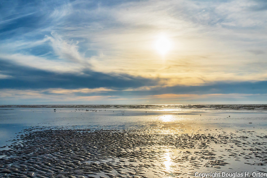 Late sun and clouds over low tide at Grayland Beach, Washington at low tide.  Grayland Beach Stae Park.