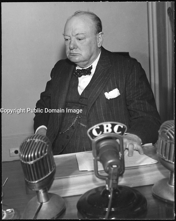Winston Churchill at a conference in Quebec, august 1943