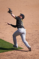 Pittsburgh Pirates first baseman Colin Moran (19) catches a popup during a Major League Spring Training game against the Baltimore Orioles on February 28, 2021 at Ed Smith Stadium in Sarasota, Florida.  (Mike Janes/Four Seam Images)