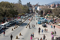 Kathmandu, Nepal.  City Traffic, Local Transport Stop.