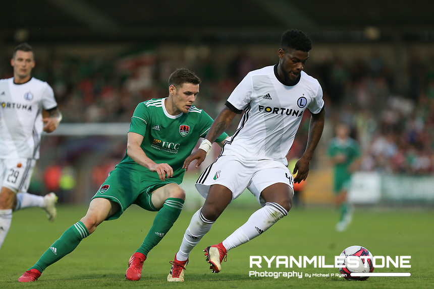 William Remy of Legia Warsaw in action against Garry Buckley of Cork City during the UEFA Champions League First Qualifying Round First Leg between Cork City and Legia Warsaw on Tuesday 10th July 2018 at Turners Cross, Cork. Photo By Michael P Ryan