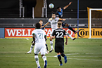 SAN JOSE, CA - SEPTEMBER 19: Diego Valeri #8 of the Portland Timbers and Marcos Lopez #27 of the San Jose Earthquakes during a game between Portland Timbers and San Jose Earthquakes at Earthquakes Stadium on September 19, 2020 in San Jose, California.