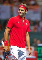 Switserland, Genève, September 20, 2015, Tennis,   Davis Cup, Switserland-Netherlands, Roger Federer (SUI)<br /> Photo: Tennisimages/Henk Koster