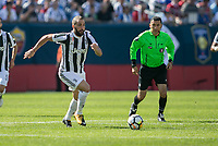Foxborough, Massachusetts - July 30, 2017:  Juventus (black/white) defeated Roma (imperial purple) in a 2017 International Champions Cup (ICC United States) match.