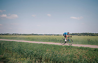"Tim Merlier (BEL/Willems Veranda's - Crelan) trying to break free from his oponenets over the gravel sectors<br /> <br /> Antwerp Port Epic 2018 (formerly ""Schaal Sels"")<br /> One Day Race:  Antwerp > Antwerp (207 km; of which 32km are cobbles & 30km is gravel/off-road!)"