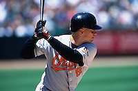 OAKLAND, CA - Cal Ripken Jr. of the Baltimore Orioles in action during a game against the Oakland Athletics at the Oakland Coliseum in Oakland, California on June 2, 2001. Photo by Brad Mangin