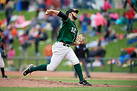 Great Lakes Loons relief pitcher Miguel Urena (32) delivers a pitch during a game against the Burlington Bees on May 4, 2017 at Dow Diamond in Midland, Michigan.  Great Lakes defeated Burlington 2-1.  (Mike Janes/Four Seam Images)