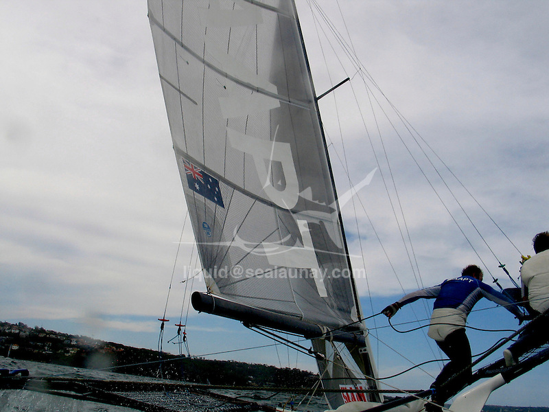 Day one of the JJ Giltinan 18 Ft Skiff championship 2007 in Sydney Harbour..