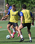 Atletico de Madrid's Saul Niguez, Marcos Llorente and Stefan Savic during training session. May 28,2020.(ALTERPHOTOS/Atletico de Madrid/Pool)