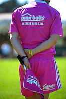 An assistant referee mans the touchline during the rugby union match between NZ Barbarians Schools and Australia Schools at Porirua Park, Porirua, Wellington, New Zealand on Tuesday, 30 September 2014. Photo: Dave Lintott / lintottphoto.co.nz