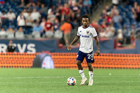FOXBOROUGH, MA - AUGUST 18: Yordy Reyna #29 of D.C. United looks to pass during a game between D.C. United and New England Revolution at Gillette Stadium on August 18, 2021 in Foxborough, Massachusetts.