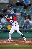 Stockton Ports first baseman Luke Persico (3) at bat during a California League game against the Rancho Cucamonga Quakes at Banner Island Ballpark on May 16, 2018 in Stockton, California. Rancho Cucamonga defeated Stockton 6-3. (Zachary Lucy/Four Seam Images)