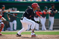 Batavia Muckdogs designated hitter Ricardo Cespedes (5) grounds into a double play during a game against the Auburn Doubledays on September 1, 2018 at Dwyer Stadium in Batavia, New York.  Auburn defeated Batavia 10-5.  (Mike Janes/Four Seam Images)