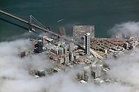 aerial photograph One Rincon Hill tower fog San Francisco, California