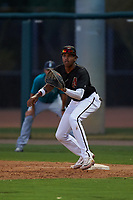 AZL D-backs first baseman Rafael Jimenez (32) during an Arizona League game against the AZL Mariners on July 3, 2019 at Salt River Fields at Talking Stick in Scottsdale, Arizona. The AZL D-backs defeated the AZL Mariners 3-1. (Zachary Lucy/Four Seam Images)