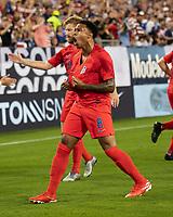 NASHVILLE, TN - JULY 3: Weston Mckennie #8 celebrates his goal during a game between Jamaica and USMNT at Nissan Stadium on July 3, 2019 in Nashville, Tennessee.
