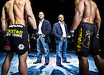 Frank Fertitta III (left) and Lorenzo Fertitta, of Ultimate Fighting Championship (UFC) photographed for Forbes Magazine at the Octagon at Mandalay Bay in Las Vegas with fighters Wanderlei Silva (left) and Rashad Evans