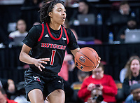 COLLEGE PARK, MD - FEBRUARY 9: Zipporah Broughton #1 of Rutgers on the attack during a game between Rutgers and Maryland at Xfinity Center on February 9, 2020 in College Park, Maryland.