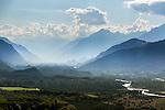 Switzerland, Canton Valais, near Leuk: view across Rhône-Valley with Pfyn-Finges National Park, Sion at background | Schweiz, Kanton Wallis, bei Leuk: Blick ins Rhonetal. ueber den Pfynwald bis nach Sion (Sitten)