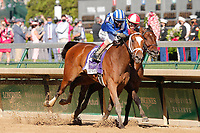 30th April 2021; Kentucky, USA; Jockey John Velazquez rides Malathaat (10) to victory in the 147th running of the Longines Kentucky Oaks race on April 30th, 2021 at Churchill Downs in Louisville, KT.