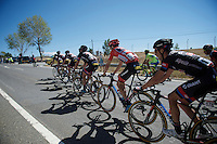 red jersey Tom Dumoulin (NLD/Giant-Alpecin) escorted through the feedzone<br /> <br /> stage 19: Medina del Campo - Avila (186km)<br /> 2015 Vuelta à Espana