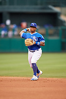 Oklahoma City Dodgers second baseman Willie Calhoun (4) throws to first base during a game against the Colorado Springs Sky Sox on June 2, 2017 at Chickasaw Bricktown Ballpark in Oklahoma City, Oklahoma.  Colorado Springs defeated Oklahoma City 1-0 in ten innings.  (Mike Janes/Four Seam Images)