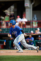 Hartford Yard Goats second baseman Ashley Graeter (0) follows through on a swing during a game against the Erie SeaWolves on August 6, 2017 at UPMC Park in Erie, Pennsylvania.  Erie defeated Hartford 9-5.  (Mike Janes/Four Seam Images)