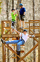 Adventure seekers zip through the forest at Richland Creek (near Asheville) at the Richland Creek Zip Line Canopy Tours, located at 2728 Fairview Farm Road, Asheboro, NC. Additional details at www.richlandcreekzipline.com