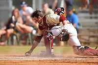 Boston College Eagles catcher Nick Sciortino (7) picks up the ball after blocking a pitch during a game against the Central Michigan Chippewas on March 8, 2016 at North Charlotte Regional Park in Port Charlotte, Florida.  Boston College defeated Central Michigan 9-3.  (Mike Janes/Four Seam Images)