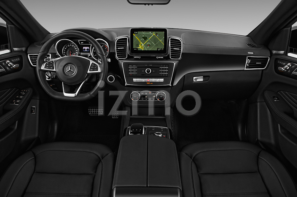 Stock photo of straight dashboard view of a 2019 Mercedes Benz GLE-Class Coupe GLE43 AMG 4MATIC 5 Door SUV