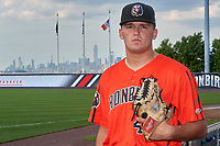 Aberdeen Ironbirds pitcher Kyle Martin (47) poses for a photo before a NY-Penn League game against the Staten Island Yankees on August 22, 2019 at Richmond County Bank Ballpark in Staten Island, New York.  Aberdeen defeated Staten Island 4-1 in a rain shortened game.  (Mike Janes/Four Seam Images)