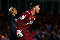 28th August 2021; Weston Homes Stadium, Peterborough, Cambridgeshire, England; EFL Championship football, Peterborough United versus West Bromwich Albion; Christy Pym of Peterborough United shouts at his defence after an error almost leads to a goal