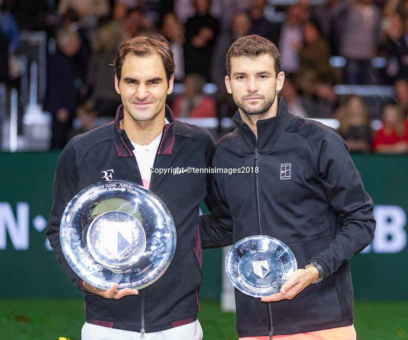 Rotterdam, The Netherlands, 18 Februari, 2018, ABNAMRO World Tennis Tournament, Ahoy, Singles final,   The winner of the 45th ABNAMROWTT  Roger Federer (SUI) (L) and right the runner up Grigor Dimitrov (BUL) Photo: www.tennisimages.com/henkkoster
